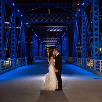 Wedding Blue Bridge Photo at Night